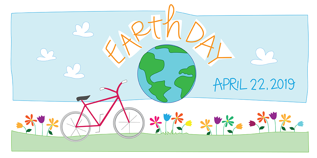 Earth Day design with flowers, a bike and the earth
